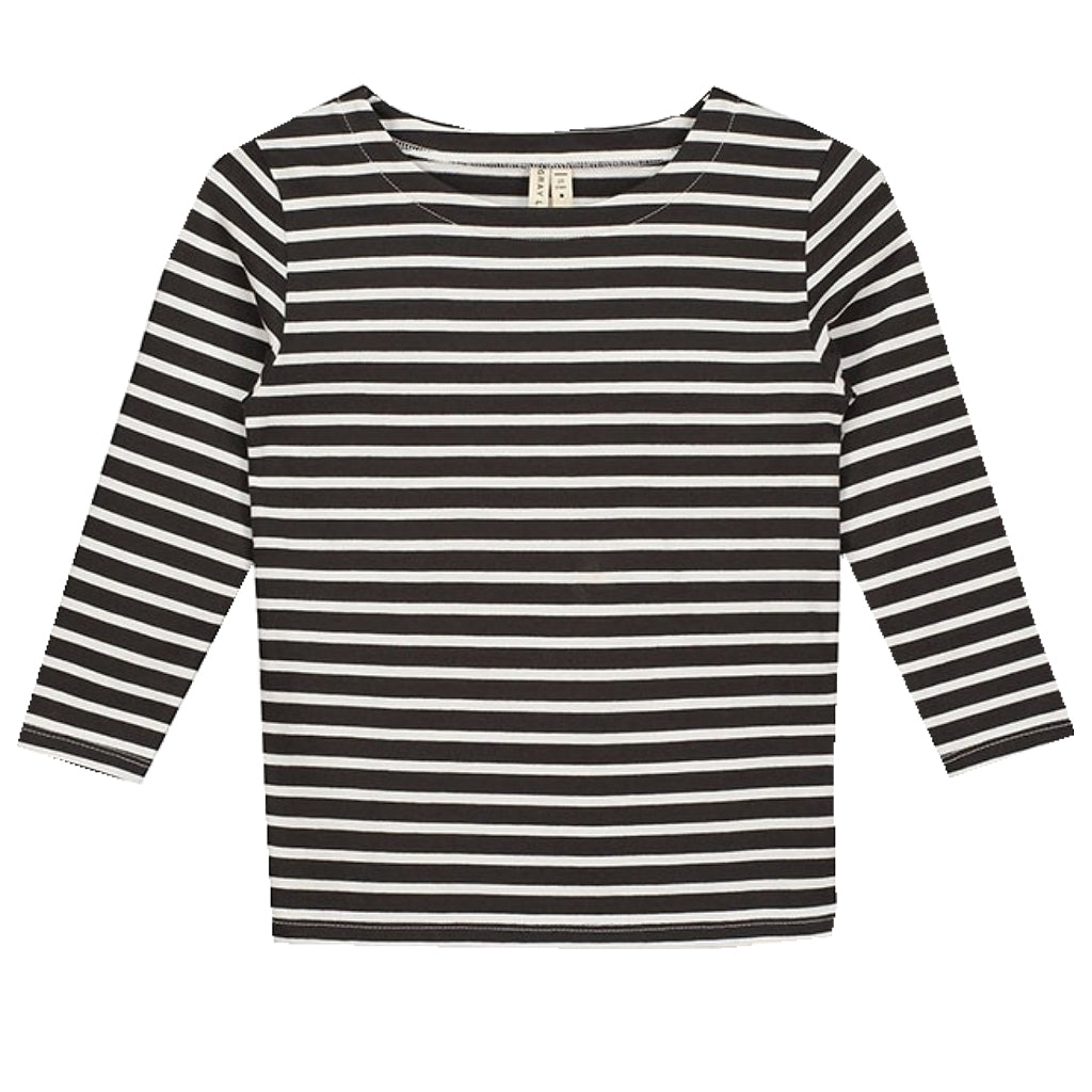 Long Sleeve Tee Stripes Nearly Black/White