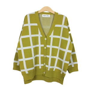Cardigan Oversized Green Sulpher Grid
