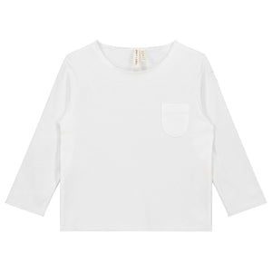 Long Sleeve Pocket Tee White