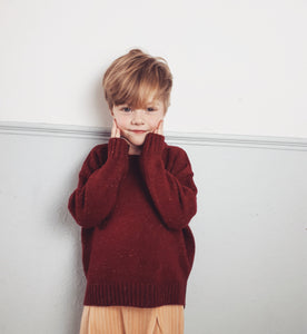 Sweater Ashton Oversized Freckled Knit Daily Red
