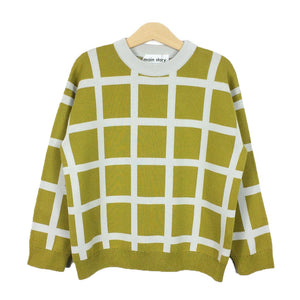 Sweater Oversized Green Sulpher Grid