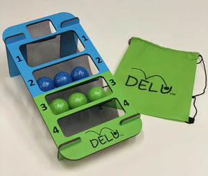 DELU™ Game - Indoor/Outdoor Tailgate Game (Includes Game, 3 Blue Balls, 3 Green Balls, and Storage Bag) - DELU Games