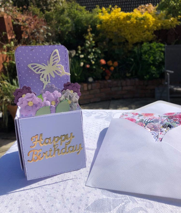 These lovely Happy Birthday handmade cards are made to fold flat for posting and then to sit as a box of flowers once opened.