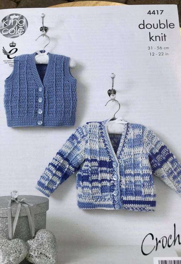 DK Cardigan and Waistcoat Baby Crochet Pattern