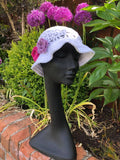 Ladies cotton sun hat with flowers 2