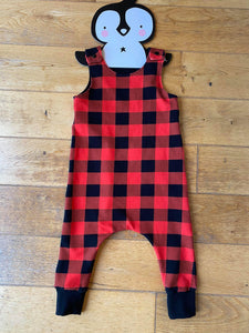 Buffalo plaid harem romper