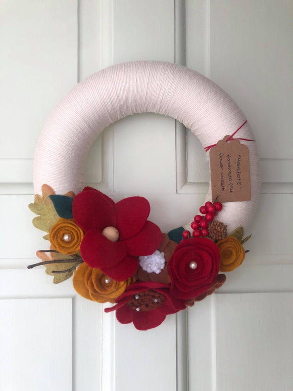 Felt flower Door Wreath