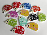 Hedgehog Wooden Buttons. 2 Holes.   Perfect for sewing for children and adults, scrapbooking, creative sewing, wrapping gifts, earrings and brooches.