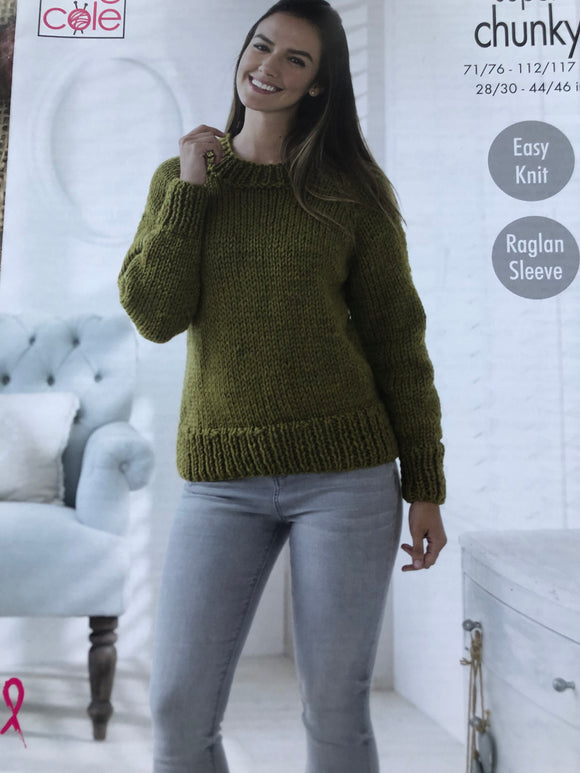 Easy knit super chunky ladies sweater pattern