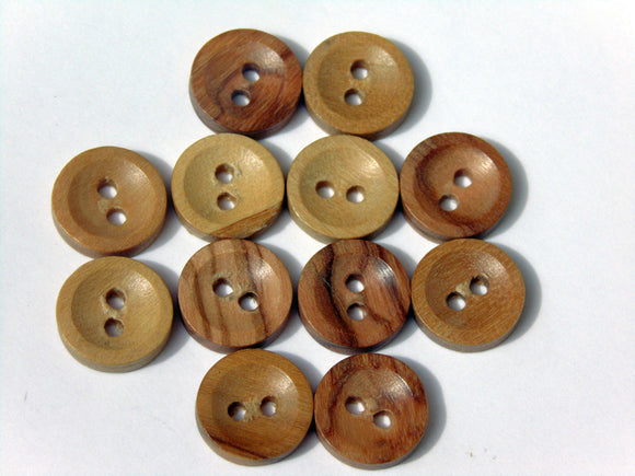 Olive wood round buttons