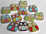 Patchwork Owl Wooden Buttons