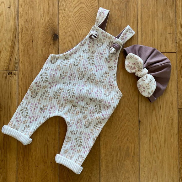 Waffle Knit Baby Girl Overalls and Turban Hat