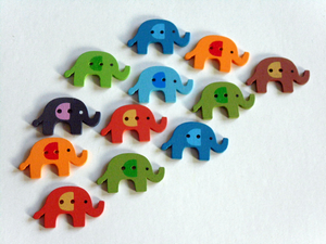 Elephant Wooden Buttons. 2 Holes.   Perfect for sewing for children and adults, scrapbooking, creative sewing, wrapping gifts, earrings and brooches.