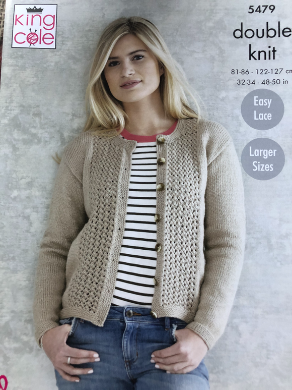 Ladies double knit cardigan, scarf and hat knitting pattern