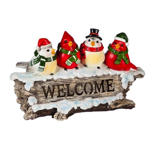 Welcome Winter Birds LED Statuary