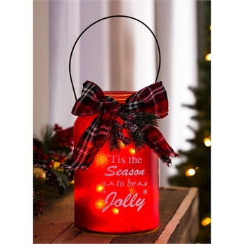 LED Jar with Plaid Ribbon