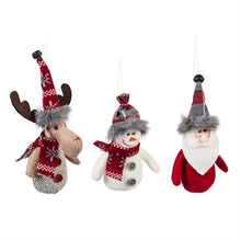 Load image into Gallery viewer, Fabric Moose, Santa and Snowman Ornaments