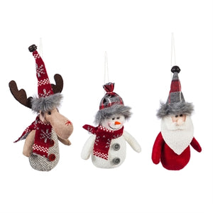 Fabric Moose, Santa and Snowman Ornaments