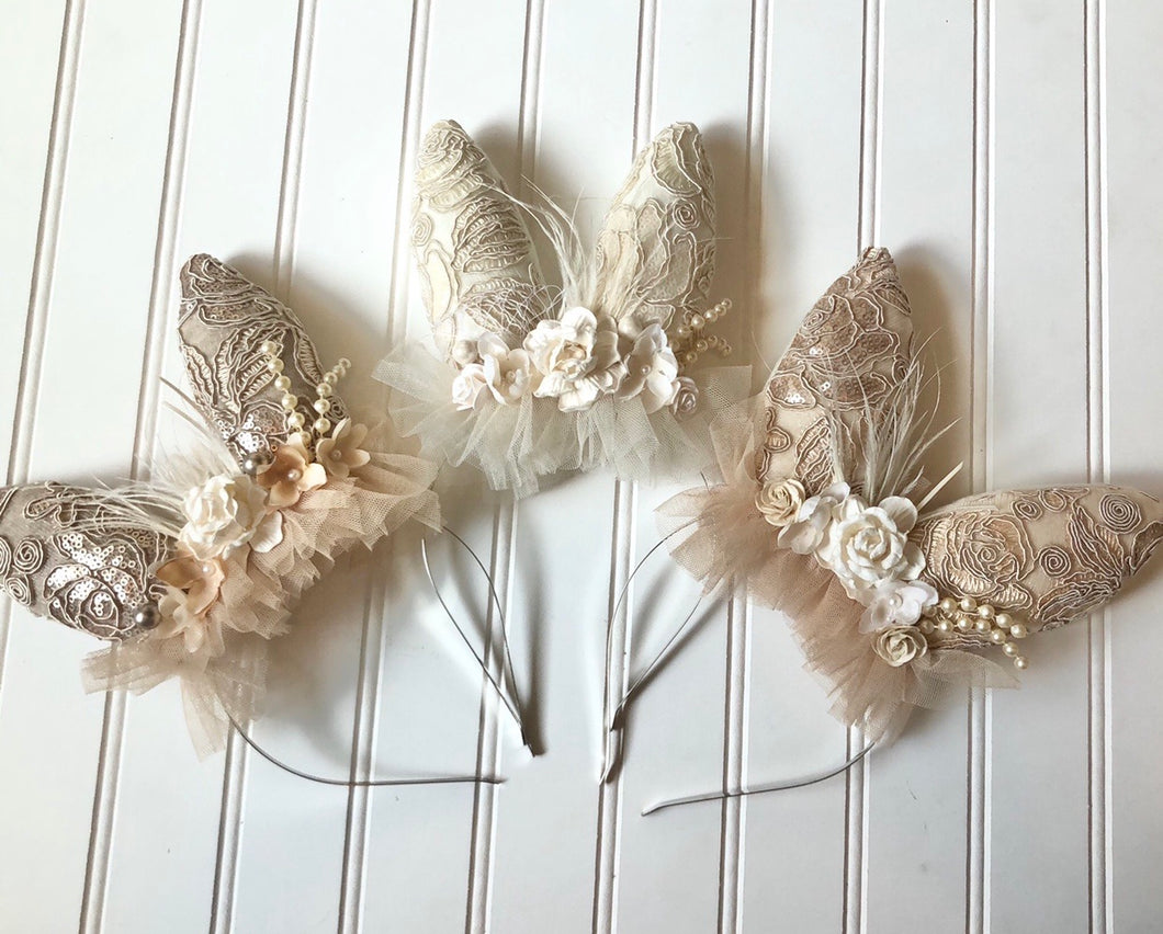 Bunny Headband in Champagne, Ivory or Light Tan