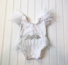Load image into Gallery viewer, Kaylee Feather Romper in White