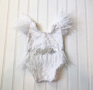 Kaylee Feather Romper in White