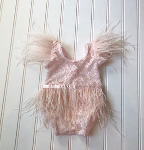 Clara Feather Romper in Light Blush