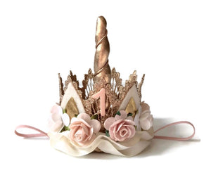 Unicorn Crown in Ivory, Blush and Peach