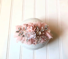 Load image into Gallery viewer, Rhinestone Floral Tieback in Blush Pink