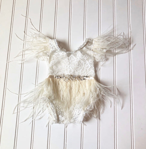 Clara Feather Romper in Ivory