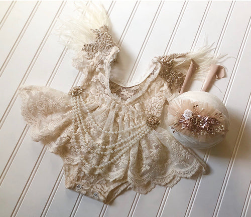 Blaire Romper with Pearl Attachment & Tieback