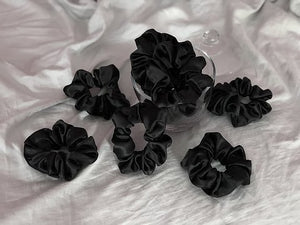 Jet-Black Satin Scrunchie