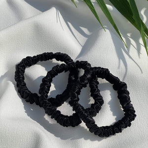 Skinny Mulberry Silk Scrunchie (Black)