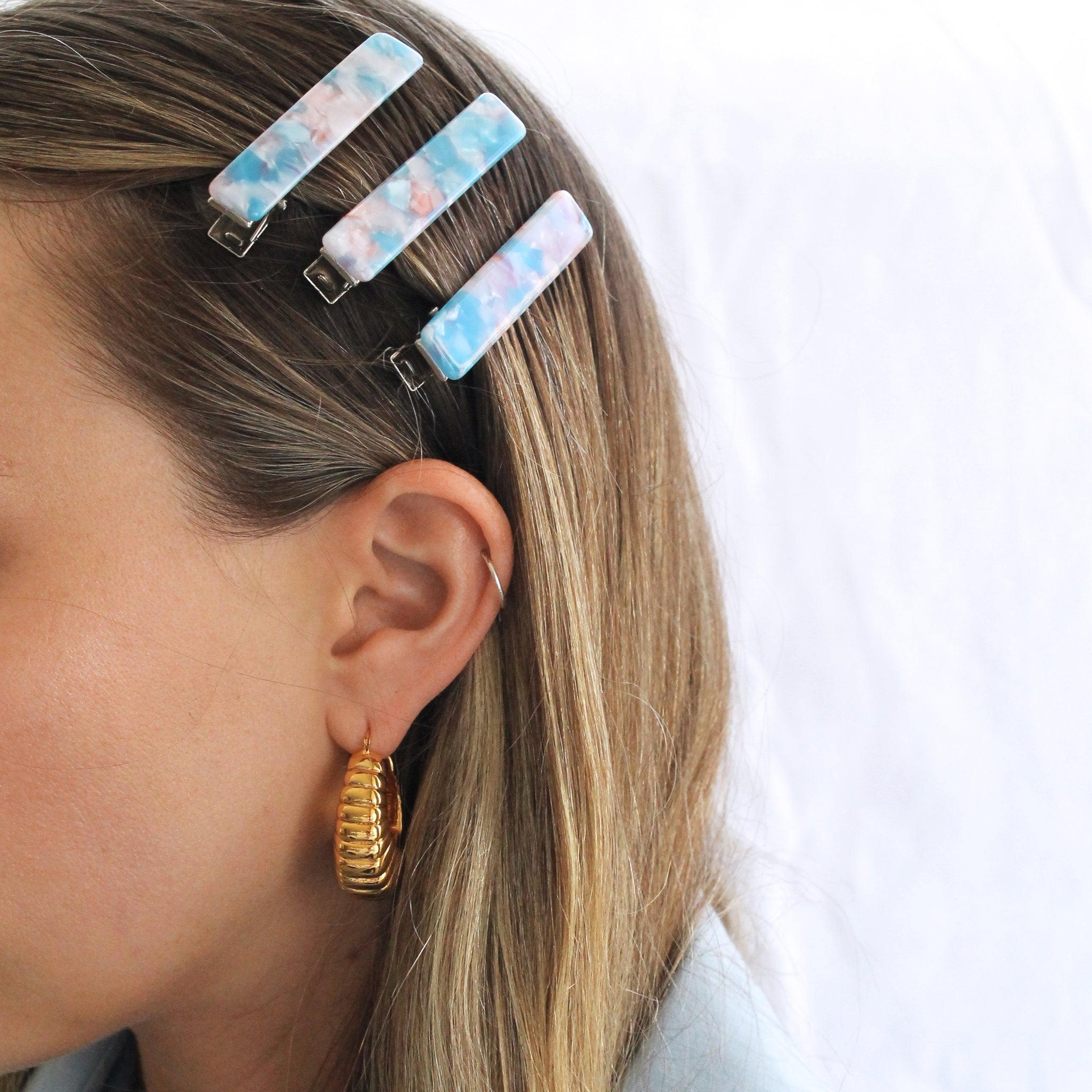 Jaclyn Hair Clip Set - Pink and Blue