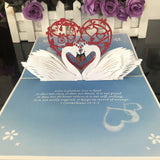 Swan Pop Up Card With Bible Verse on Love