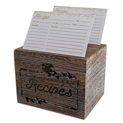 Table Matters Farmhouse Recipe Box with Cards and Dividers with Tabs (4x6 Inches) - Comes with 50 4x6 Recipe Cards and 9 Dividers - Wooden Recipe Box With Dual Slots and Carved Design