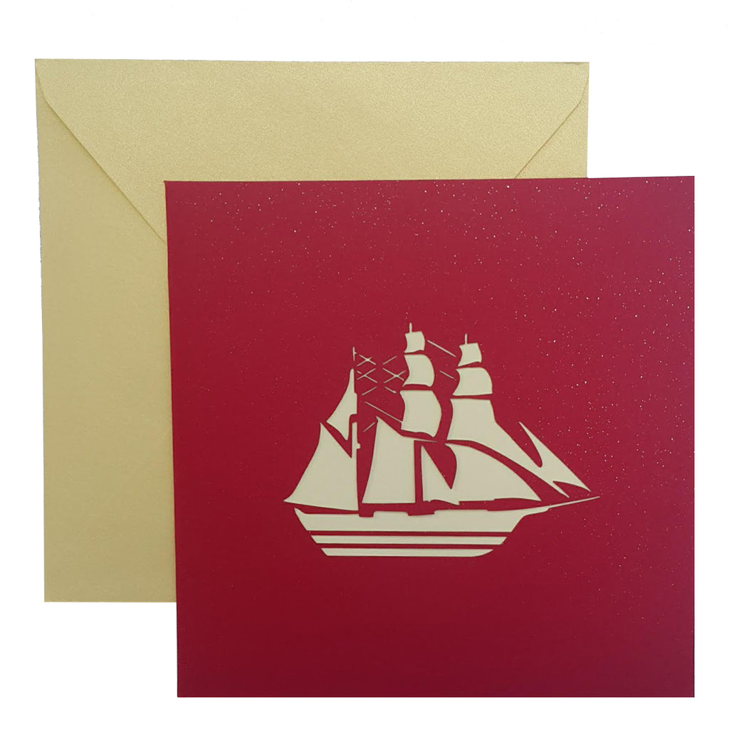 Boat Popup Card With Inspirational Sailing Quote