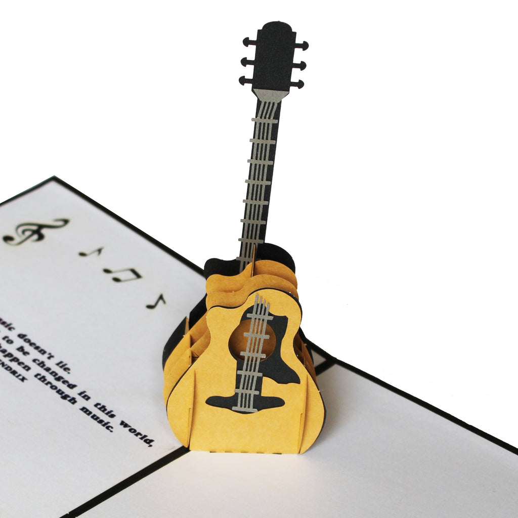 3D Pop up Guitar Card With Jimi Hendrix Music Quote