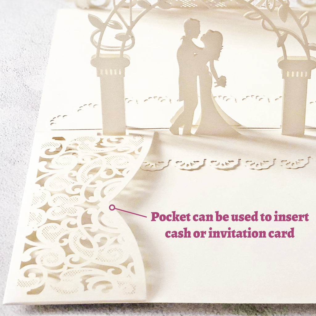 Wedding Pop Up Card with Bible Verse About Love (White - 5 x 7 Inches)