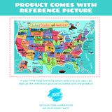 US Map Coloring Poster for Kids (52x35 Inches)
