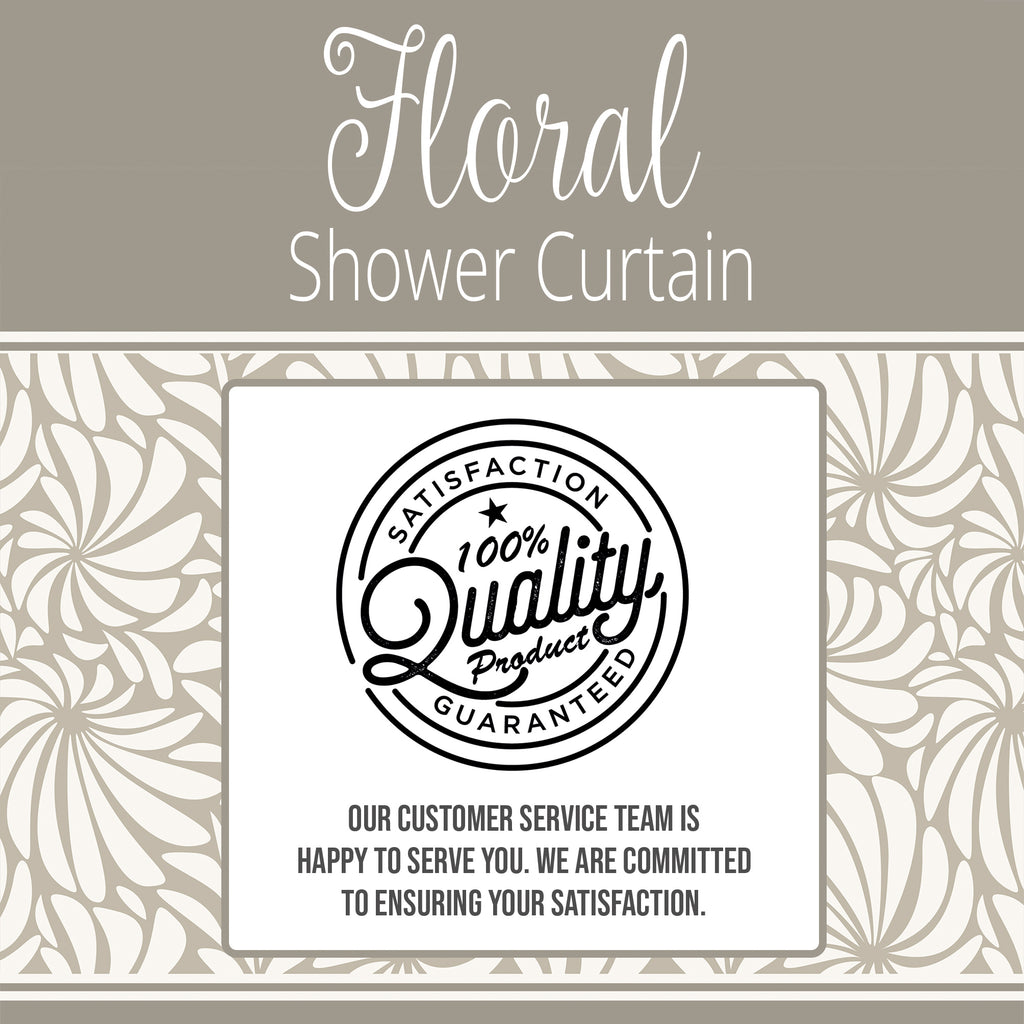 White and Grey Shower Curtain with Abstract Floral Design