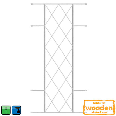 Xpanda Diamond Burglar Guard - 530mm x 1270mm White | Burglar Guard