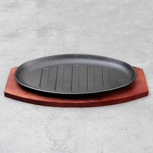 Cast Iron Fajita Platter with Wooden Holder