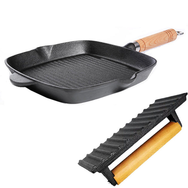 Cast Iron Ridged Frying Pan with Handle and Press - 9.5 Inch