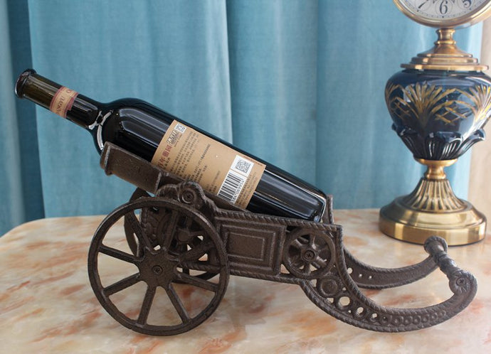Cast Iron Cannon Wine Bottle Holder