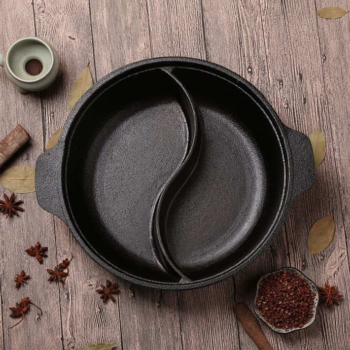 Cast Iron Dual Sided Pot 12 Inch/ 12.6 Inch/ 14 Inch