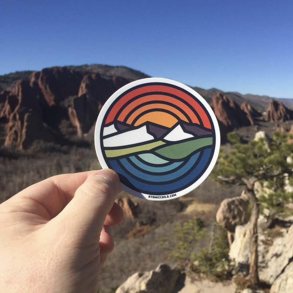 Circle Mountains Sunset Over Water Sticker
