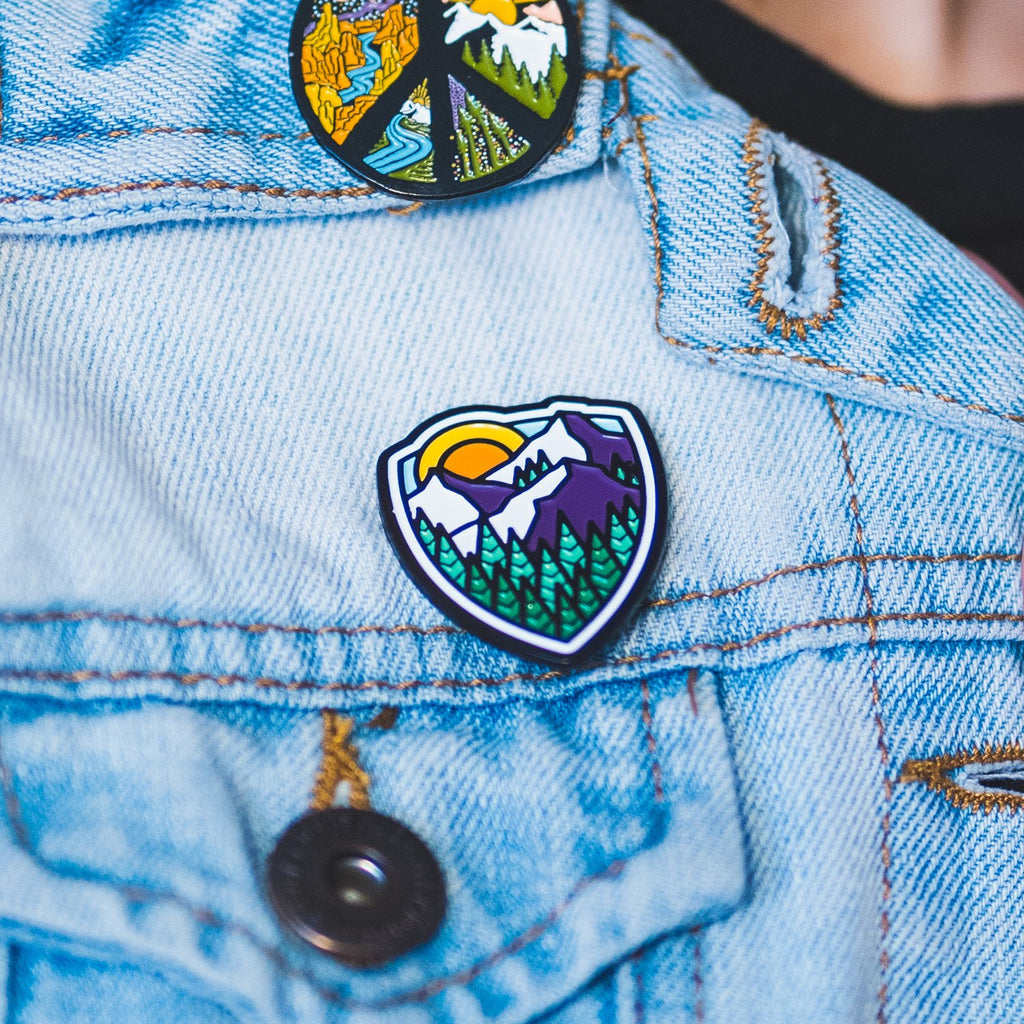 Mountain Shield Enamel Pin