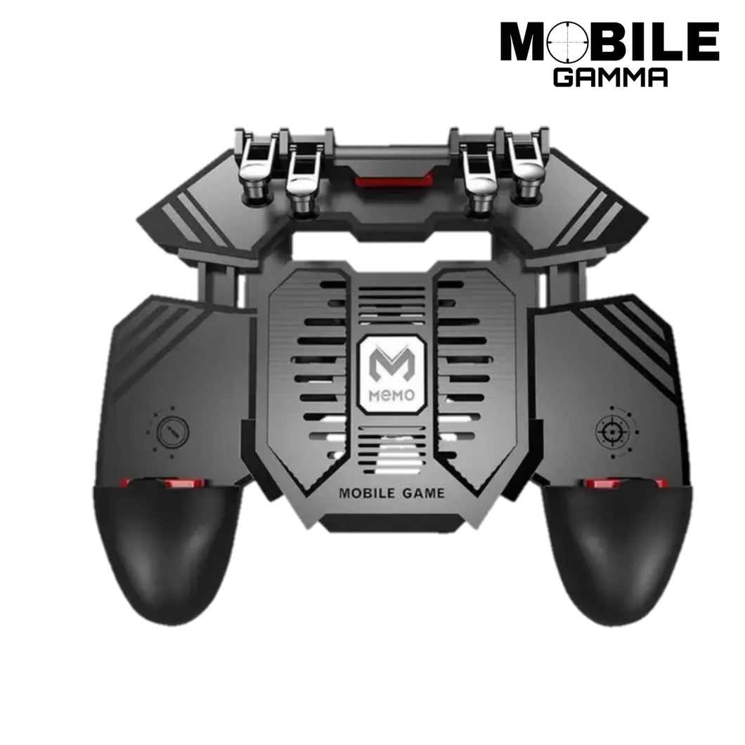 mobile gaming controller with 4000 mah battery and cooling fan equipped with four triggers for 6 finger gaming great for COD mobile, PUBG, FORTNITE and the forever evolving mobile gaming world