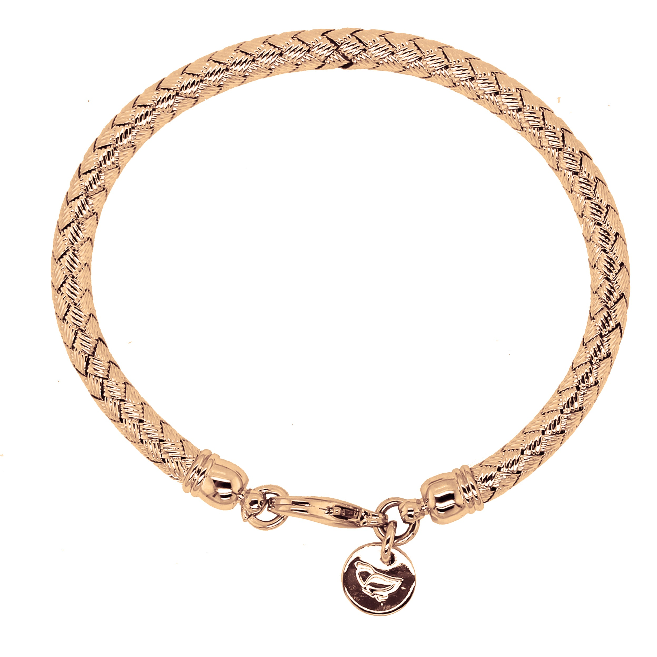 Forever Last   18k Gold Plated Women's  Woven  Rose Bracelet