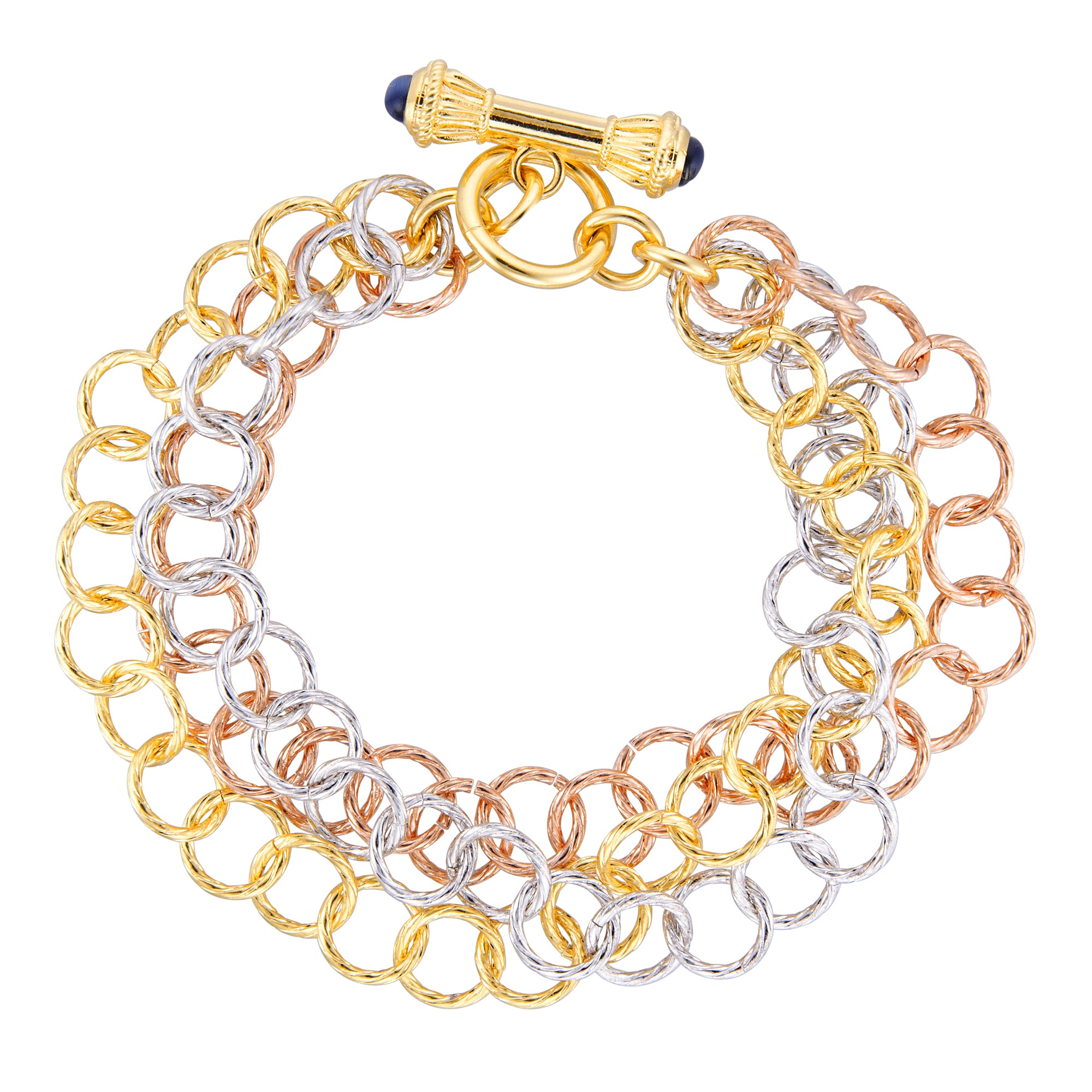 Forever Last   18k Gold Plated Women's  3 Strand Tri Colour  Toggle Clasp Bracelet
